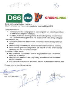 Motie University college getekend