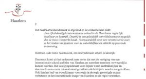uitsnede collegebrief motie internationale school